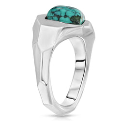 The W Brothers Turquoise Geometric Ring in premium grade A 925 Sterling Silver that is non-recycled set with an all natural AA Grade Turquoise Gemstone with geometric designs and details on the silver ring band. Futuristic modern contemporary jewelry ring fashion accessory accessories.