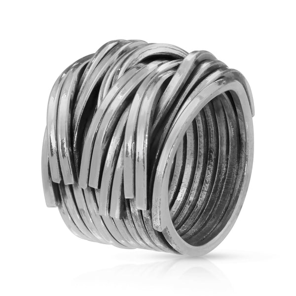 Grand Woven Silver Ring - The W Brothers Grand Woven Silver Ring - The W Brothers, 925 sterling silver ring, women woven braided silver ring