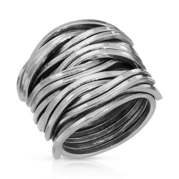 Sterling Silver ring for men and women, The W Brothers woven 925 sterling silver jewelry
