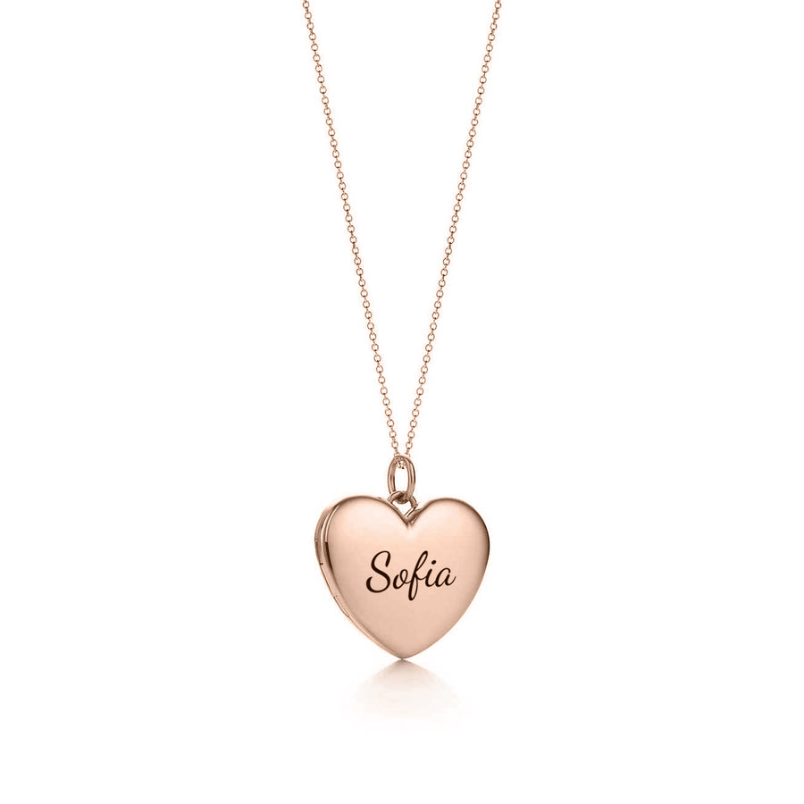 The W Brothers custom heart pendant necklace customized engraving name word locket beautiful heart shaped necklace sterling silver rose gold