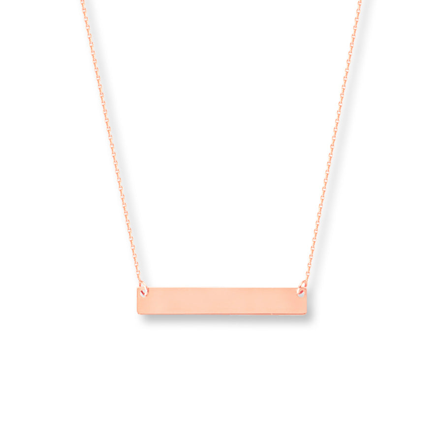 Rose Gold Bar plate necklace with engraving The W Brothers