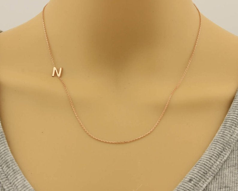 Sideways off centered necklace chain 14