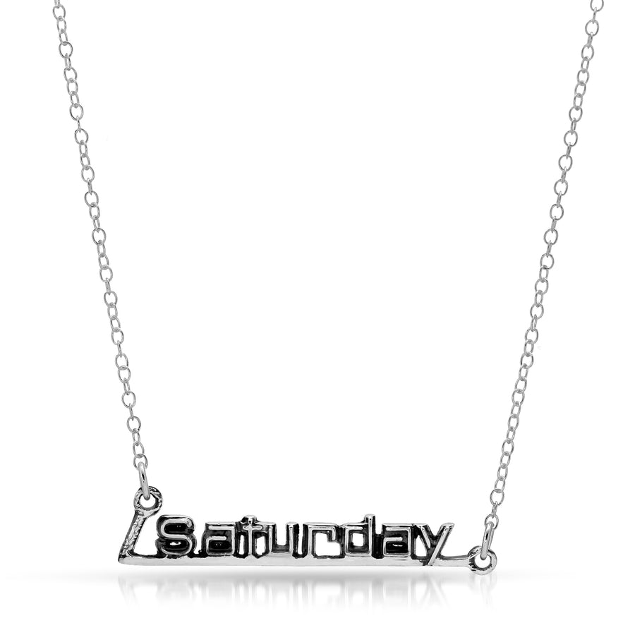 The W Brothers Week/Weekend Saturday Necklace Pendant hand-made from 925 Sterling Silver, perfect for a fashionable statement or to showcase a celebratory weekend.