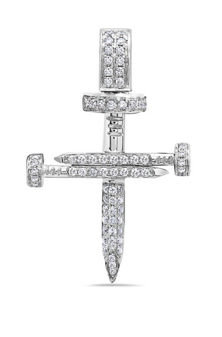 Solid 18K Diamond Nail Cross