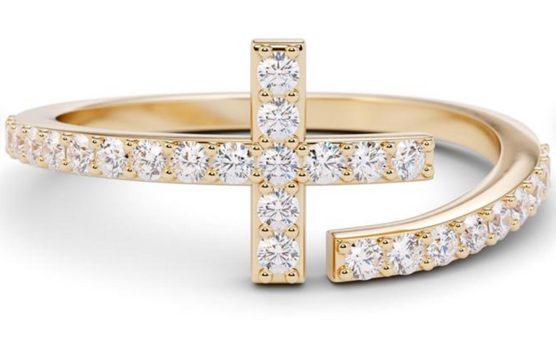The W Brothers Diamond Cross Ring hand-crafted to perfection in solid 14k yellow gold, solid 14k white gold, solid 14k rose gold, 925 Sterling Silver. Luxurious fashion cross diamond ring in solid gold available only at thewbros.com