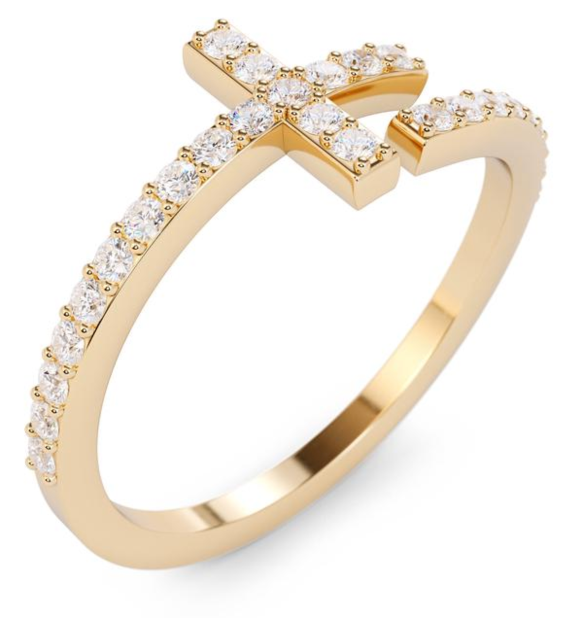 The W Brothers Diamond Cross Ring hand-crafted to perfection in solid 18k yellow gold, solid 14k white gold, solid 14k rose gold, 925 Sterling Silver. Luxurious fashion cross diamond ring in solid gold available only at thewbros.com