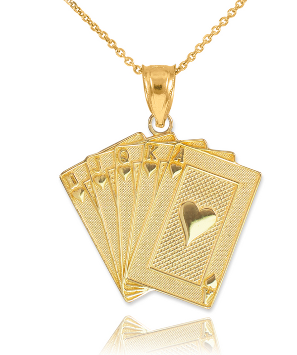 The W Brothers Solid 10K, 14K, 18K Gold available in Solid Yellow, White, & Rose Gold. Shop Poker Royal Flush Ace of Spades, Royal Flush Heart Pendant Necklace. Shop your gold jewelry options only at thewbros.com