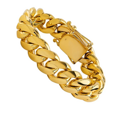 The W Brothers TheWBros 18k Solid Gold Cuban Chain Bracelet (15 mm) available in 18k Solid Yellow Gold, 18k Solid White Gold, 18k solid Rose Gold. Shop your solid gold jewelry available at thewbros.com