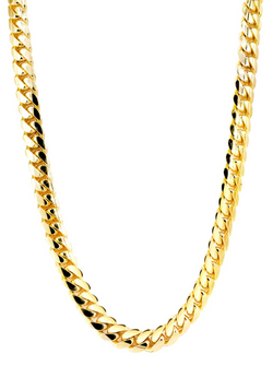 The W Brothers 5 mm Miami Cuban Link Chain Necklace in 14k solid yellow gold, 14k solid white gold, 14k solid rose gold, available at thewbros.com. Shop your solid gold jewelry options at thewbros.com