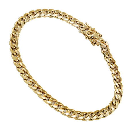18K Solid Gold Cuban Bracelet (5.5 mm)