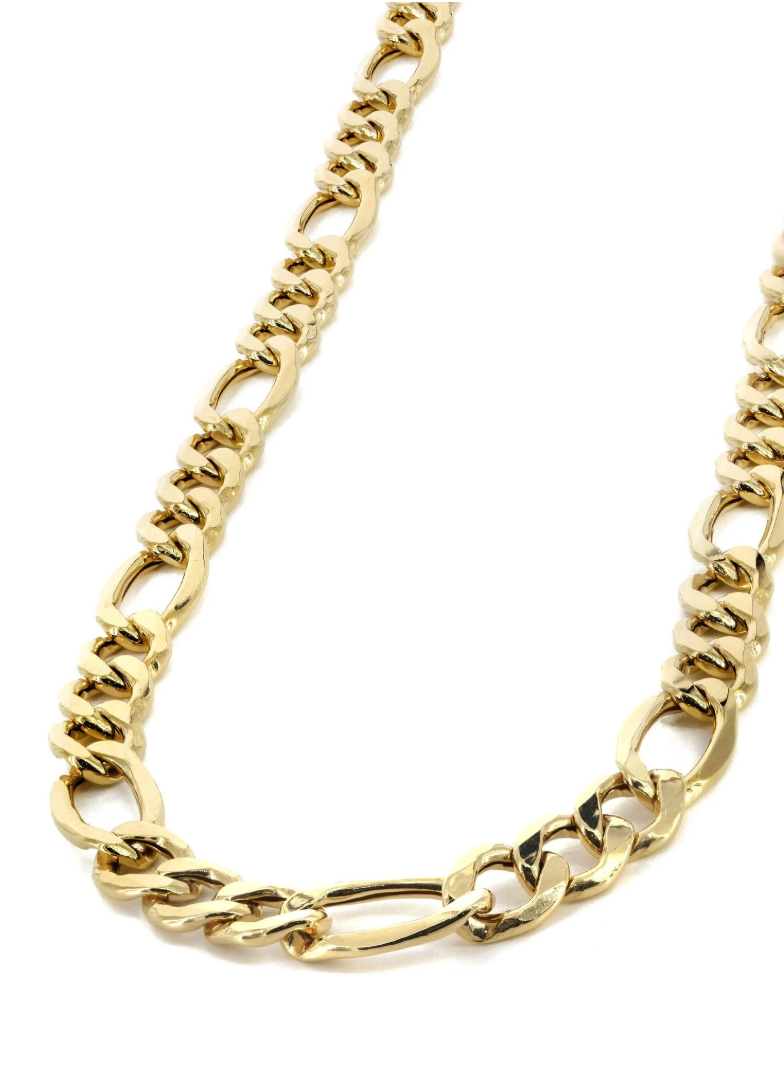 The W brothers TheWBros Solid 18k Gold Figaro Chain 4.5 mm thick, 16.1 grams. Available in solid 18k yellow gold, solid 18k white gold, solid 18k rose gold. Available only at thewbros.com
