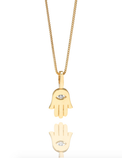 The W Brothers 18K Solid Gold Hamsa Pendant paired with a beautiful Franco Chain in solid gold as well. Style the most popular Hamsa Hand Eye Pendant Necklace with a VS-SI, VS+, VVS Diamonds set as the Hamsa eye centerpiece. Shop your gold jewelry options available at TheWBros.com