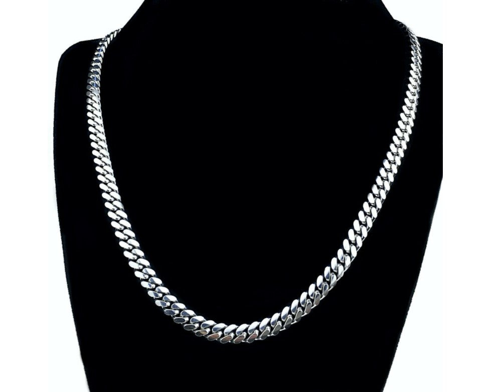 "The W Brothers Sterling Silver Miami Cuban Chain choker 18"" 20"" 24"" solid sterling silver cuban chain 50 grams thewbros"