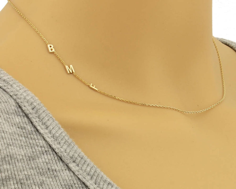 The W Brothers gold custom sideways hanging necklace chain, off-centered custom necklace in gold, sterling silver, rose gold, 14k white gold, yellow gold