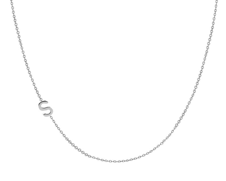 The W Brothers custom sideways hanging initials necklace chain, custom name letter sideways necklace in sterling silver, 14k gold, white gold, rose gold