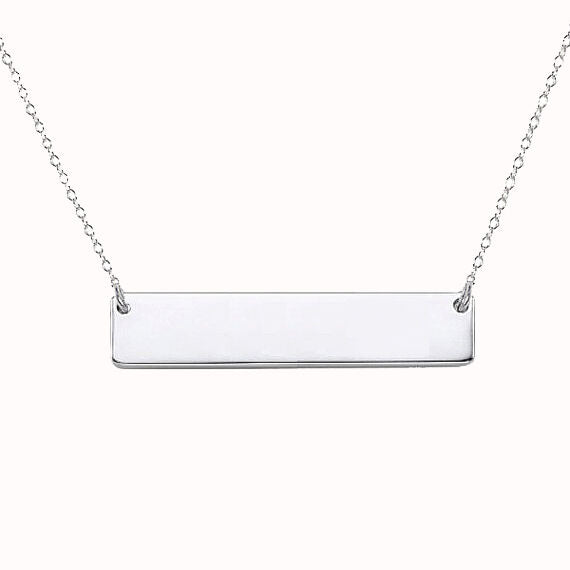 The W Brothers custom silver bar necklace personalize with engraving, letters or message custom pendant 925 sterling silver