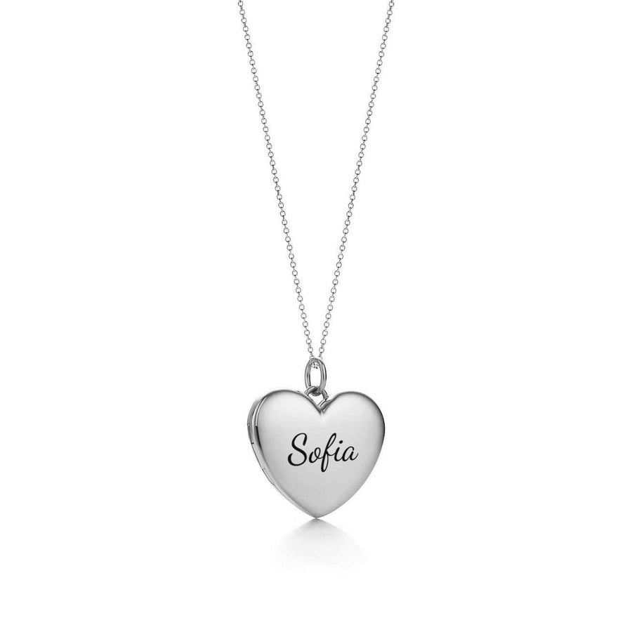 Heart Pendant necklace custom engraving customized silver heart pendant locket 925 sterling silver gold rose gold