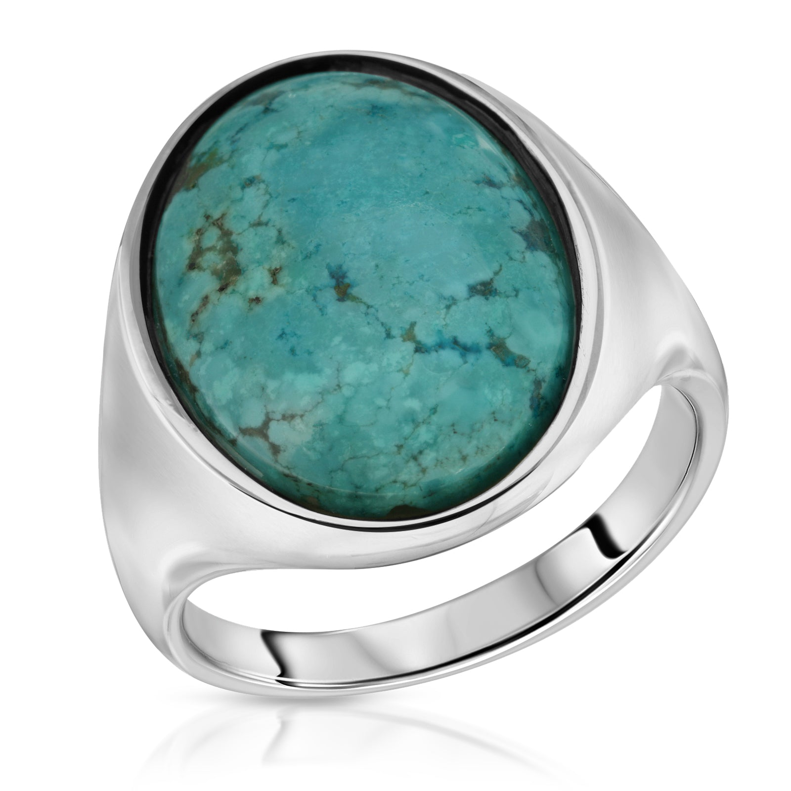 Blue Turquoise Oval Ring - The W Brothers