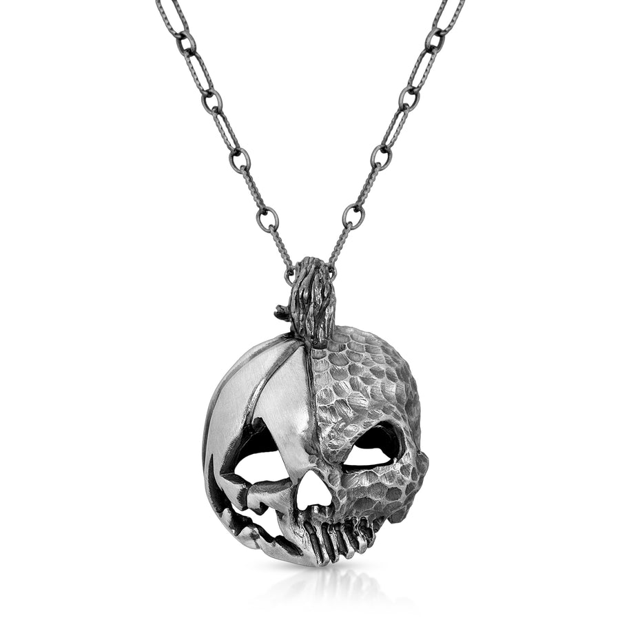 Sterling silver skull pumpkin pendant necklace dark jewelry elder tree by The W Brothers