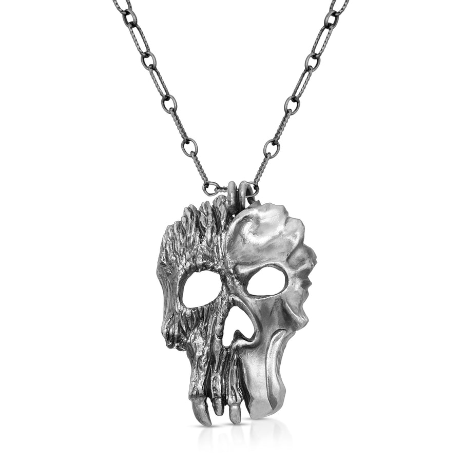 Sterling silver skull pendant necklace dark jewelry elder tree by The W Brothers