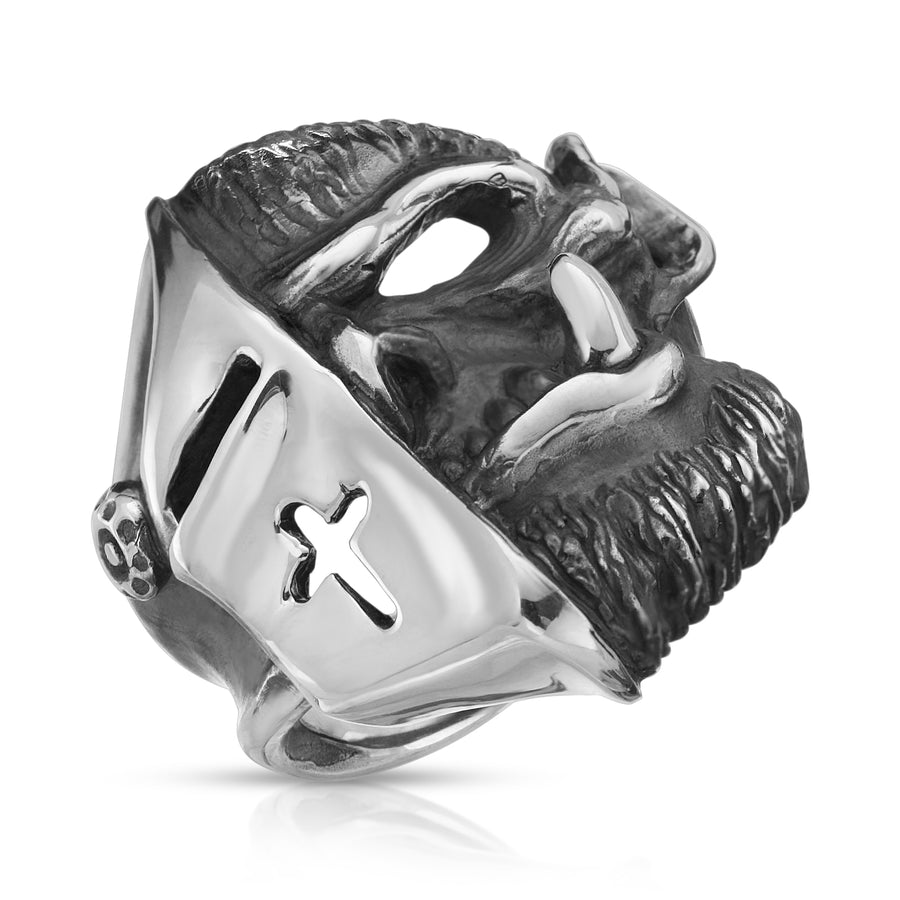 Troll Army Knight sterling silver skull ring The W Brothers