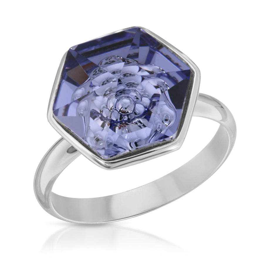 The W Brothers 14 mm Hexagon Tanzanite purple blue Swarovski Pendant Necklace and Ring in Silver for girls, women, men , and male.