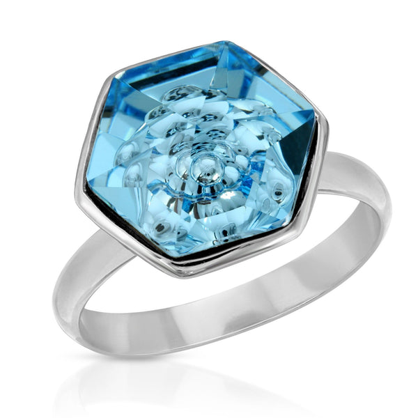 The W Brothers Premium Grade A 925 Sterling Silver Aquamarine Hexagon Swarovski Ring, perfect for a fashionable statement for men and women's jewelry accessory. Available at www.thewbros.com