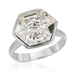 White Hexagon Swarovski Ring (14 mm) - The W Brothers