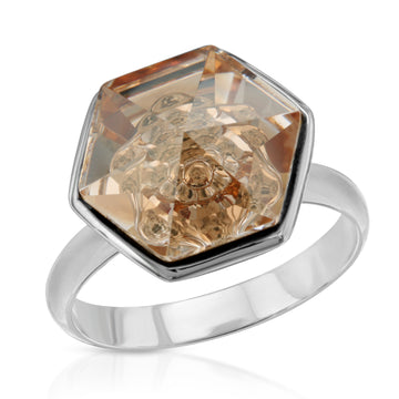 The W Brothers 14 mm Hexagon Swarovski crystal Peach Yellow Topaz Ring for women and men in Silver.