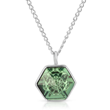 The W Brothers 14 mm Hexagon Erenite Green Swarovski Pendant Necklace in Silver for girls, women, men , and male.