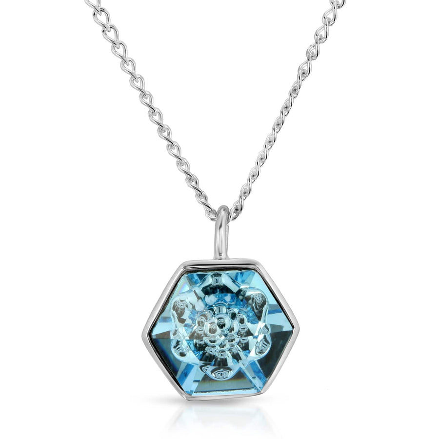 The W Brothers 14 mm Hexagon Aquamarine Blue Swarovski Pendant Necklace in Silver for girls, women, men , and male.
