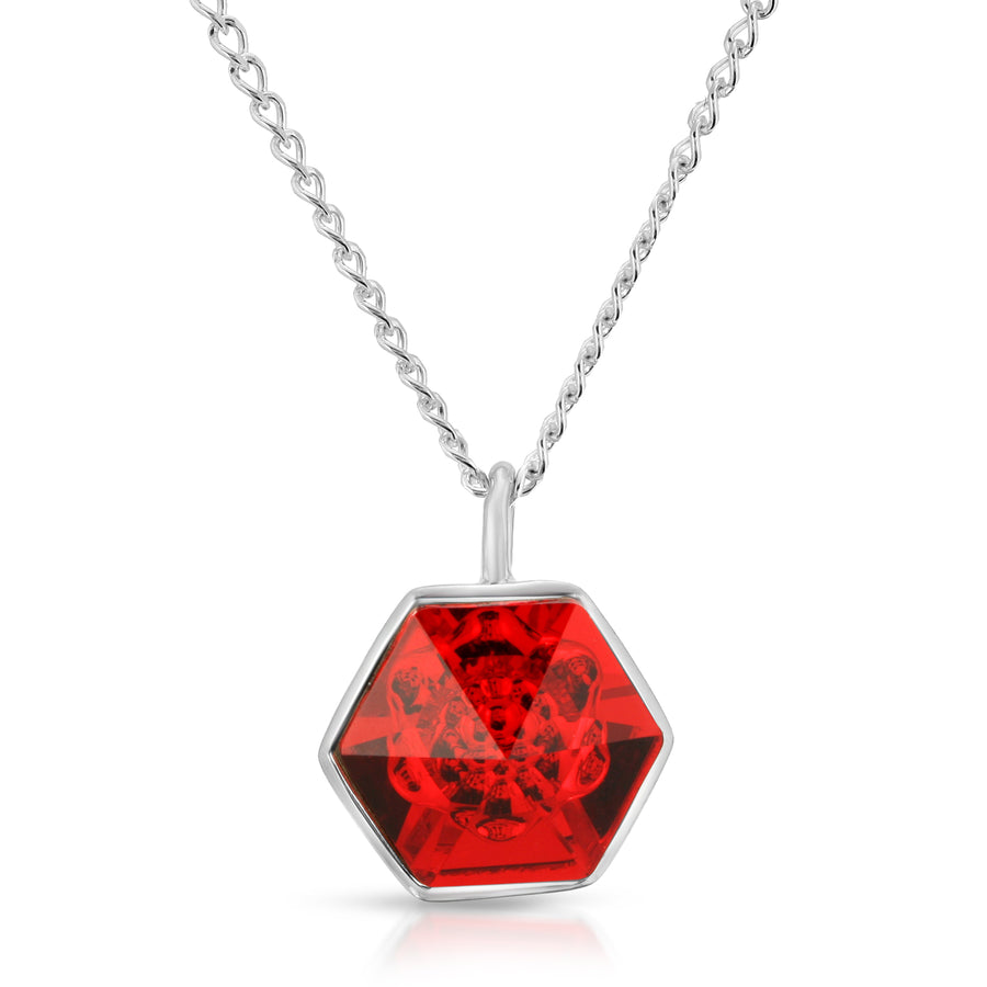 The W Brothers 14 mm Red Siam Hexagon Swarovski Crystal pendant 14 mm with Silver Chain Necklace
