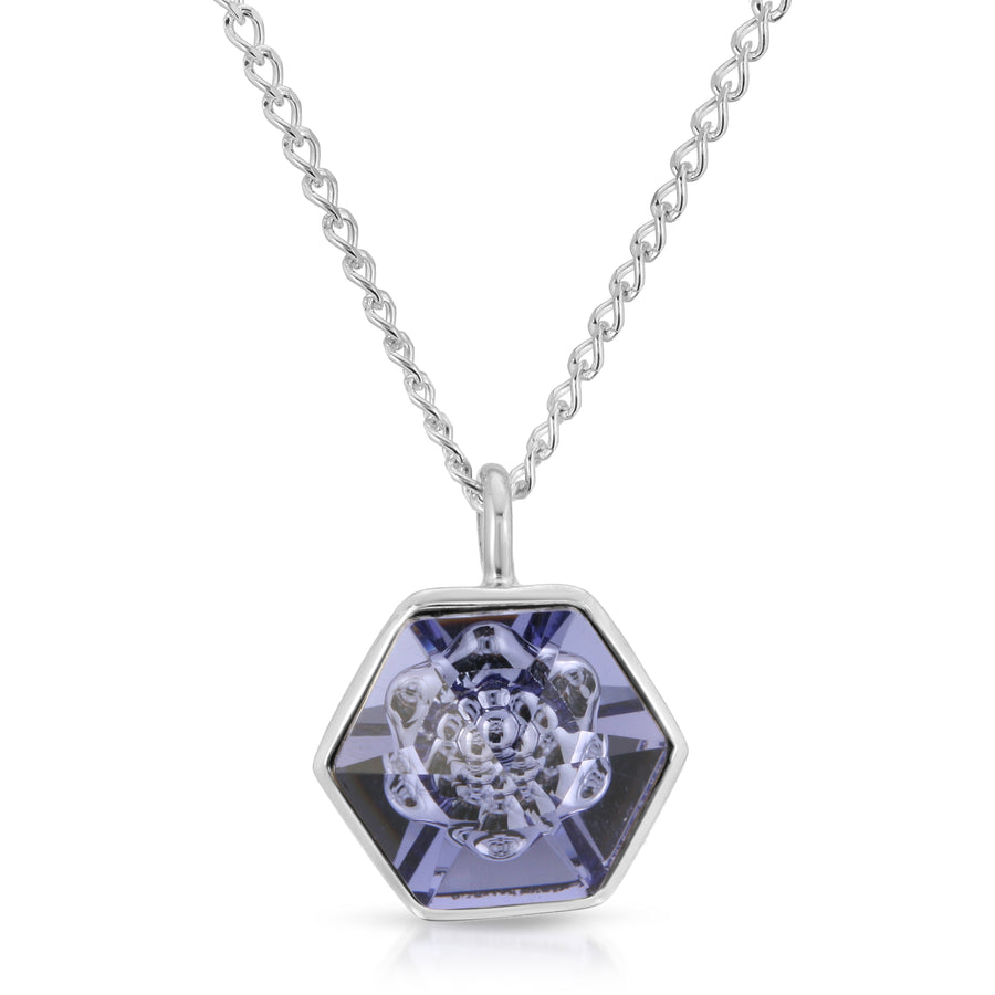 The W Brothers 14 mm Tanzanite Purple Hexagon Swarovski Crystal pendant 14 mm with Silver Chain Necklace