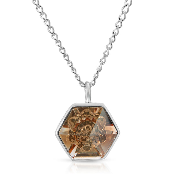 Peach Hexagon Swarovski Pendant (14 mm) - The W Brothers
