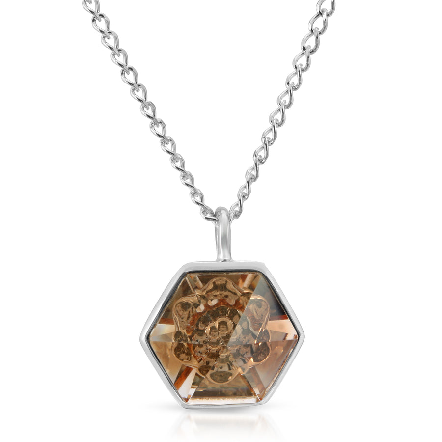 The W Brothers 14 mm Hexagon Peach Yellow Topaz Swarovski Pendant Necklace in Silver for girls, women, men , and male.