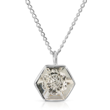 The W Brothers 14 mm Hexagon White Clear Swarovski Pendant Necklace in Silver for girls, women, men , and male.