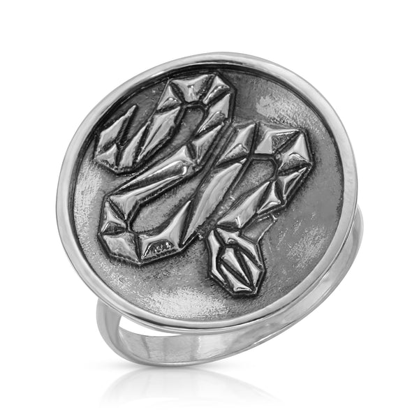 The W Brothers Premium Grade A 925 Sterling Silver Geometric Snake Ring, perfect for a fashionable statement for men and women's jewelry accessory. Available at www.thewbros.com
