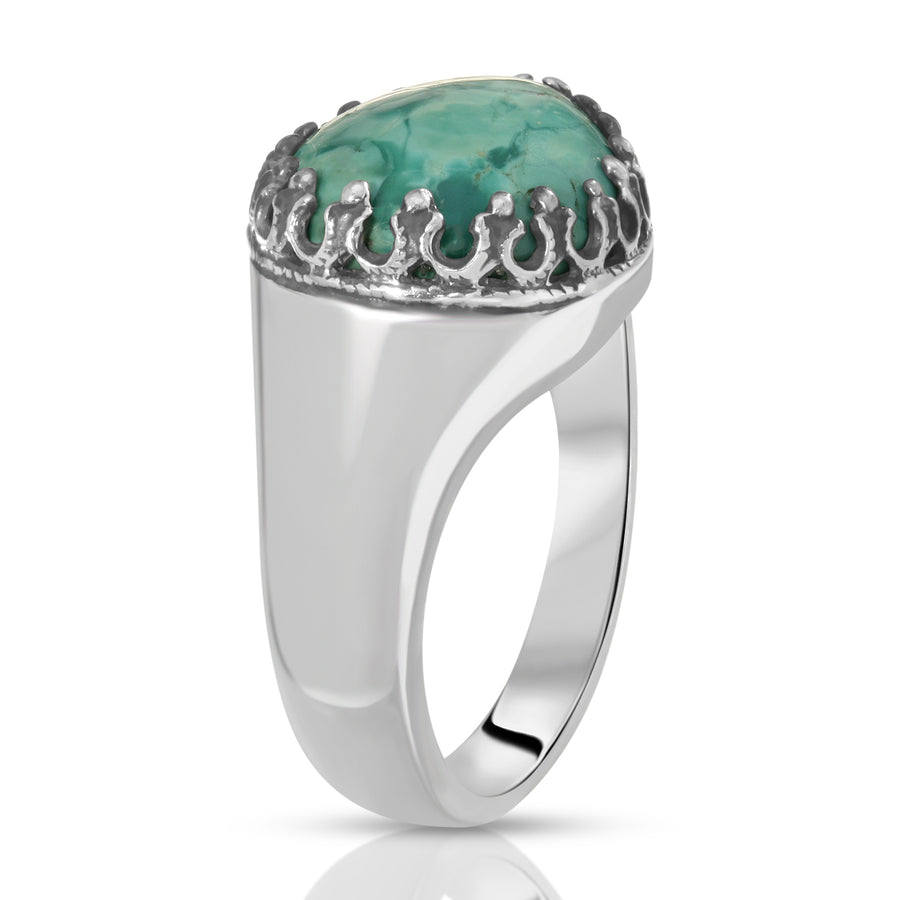 The W Brothers 925 Sterling Silver Turquoise Teardrop ring gemstone