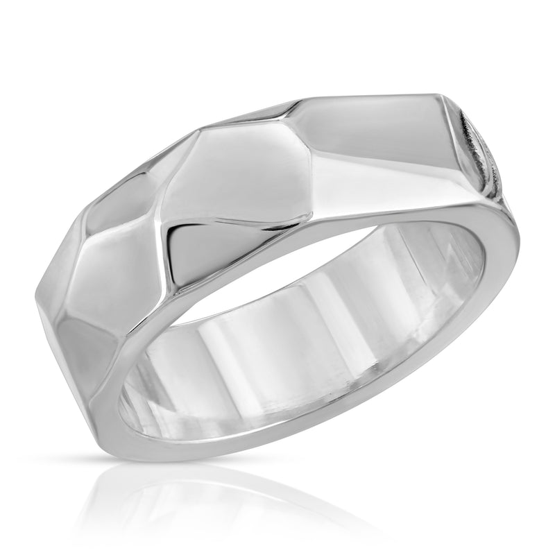 The W Brothers Spectrum Ring crafted in premium Grade A Sterling Silver for men and female fashion accessory. Designed with contemporary and modernistic influence, our one of a kind ring showcases geometric angling along the ring band. Available at www.thewbros.com
