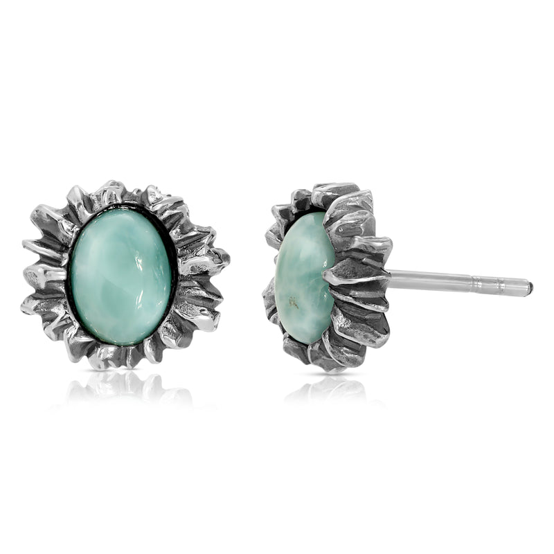 The W Brothers Larimar Sunshine Earrings with handcrafted premium Grade A Sterling Silver wrapped around naturally sourced and mined Larimar Gemstone Earrings. Highest Quality Larimar Gemstone earrings perfect for vintage and modern styled fashion for female and women accessories. Available at www.thewbros.com