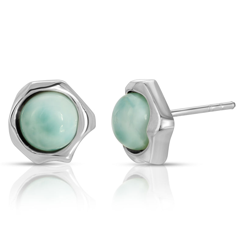 The W Brothers Abstract Larimar Gemstone Earrings Crafted to perfection our premium Grade A 925 Sterling Silver designed for comfort and fashion. We combine vintage and modern style for a modern elegant accessory. Available at www.thewbros.com