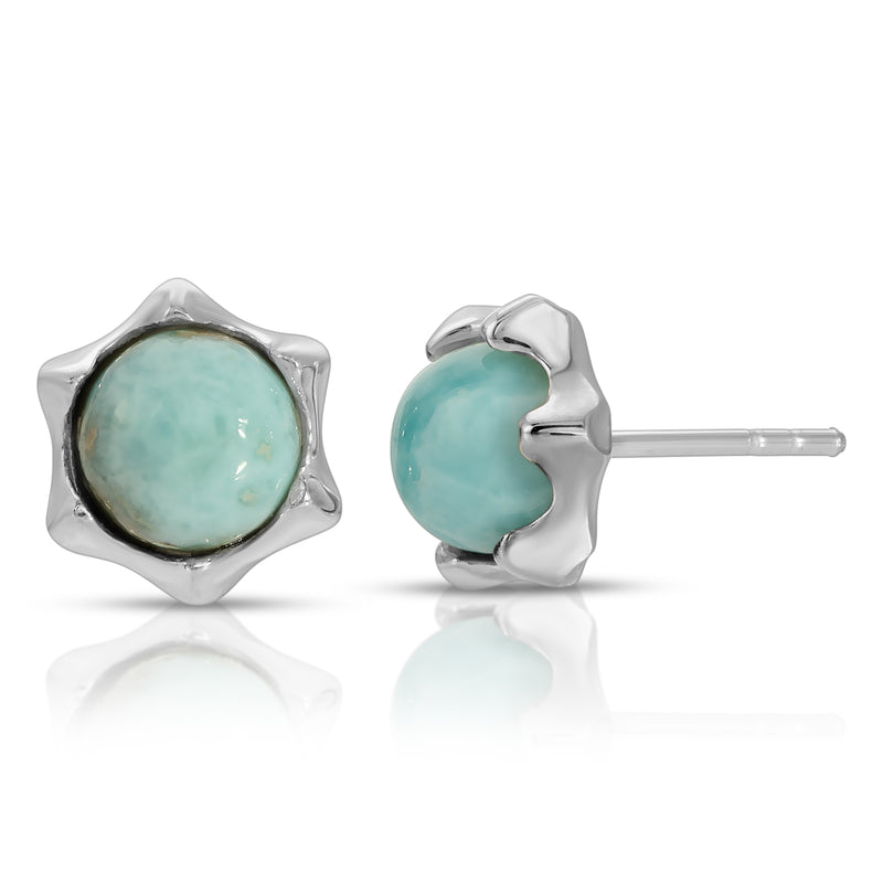The W Brothers Larimar Star Earrings in premium Grade A 925 Sterling Silver, crafted for a beautiful lustrous shine professionally set with naturally sourced and mined Larimar gemstones. Perfect for female and women fashion accessory earrings. Available at www.thewbros.com
