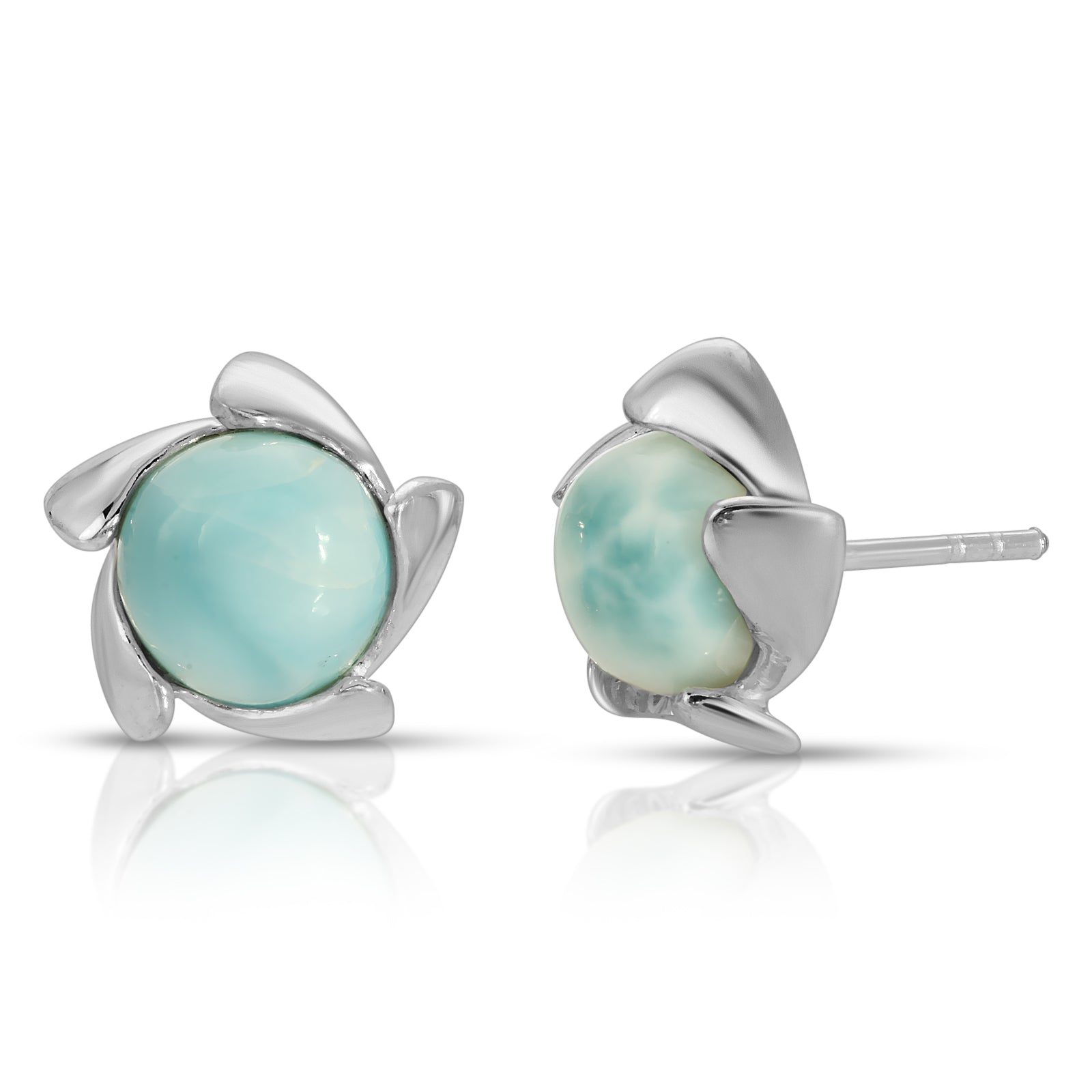 The W Brothers Vortex Larimar Gemstone Earrings crafted from premium Grade A 925 Sterling silver Material. Naturally sourced and mined Larimar gemstones perfect for women and male fashion accessory. Vintage and modern combine to create a perfect earrings accessory. Available at www.thewbros.com