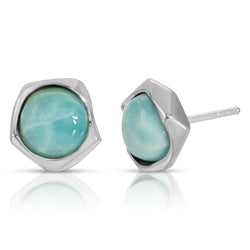 The W Brothers Larimar Gemstone Earrings embraced by Premium A Grade Silver. Stud earrings with naturally mined and naturally sourced Larimar Gemstones designed for a vintage and elegant style accessory for men and women. Available at www.thewbros.com