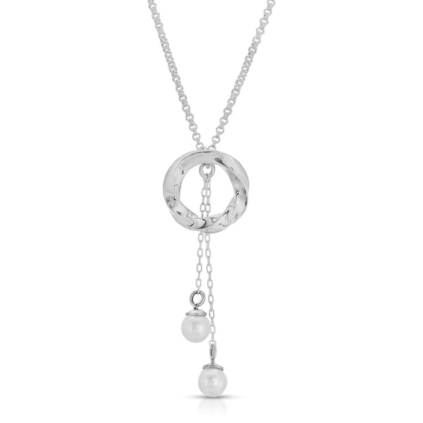 The W Brothers moonlight pearl necklace thewbros natural AA grade pearl necklace 5 mm pearls, stylish high fashion pearl necklace, intricate intertwined twisted pearl necklace, A Grade 925 sterling silver circle pendant pearl droplets hanging pearls
