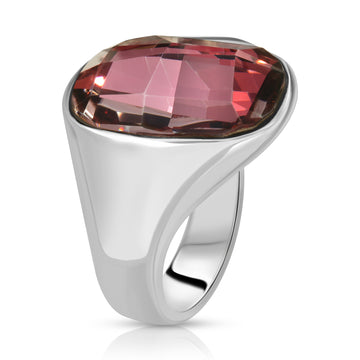 The W Brothers 925 Sterling Silver Amor Swarovski Ring Pink crystal swarovski