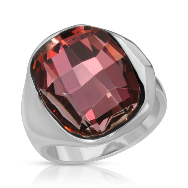 The W Brothers Premium Grade A 925 Sterling Silver Amor Ring. The Amor Ring fashions an ever-shining heartwarming pink Swarovski crystal, perfect for a fashionable statement for men and women's jewelry accessory. Available at www.thewbros.com