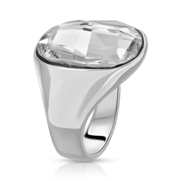 The W Brothers Premium Grade A 925 Sterling Silver Bi-Frost Ring. The Aqua Ring bears an ever-shining icy clear Swarovski crystal, perfect for a fashionable statement for men and women's jewelry accessory. Available at www.thewbros.com