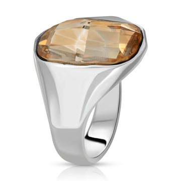 The W Brothers 925 Sterling Silver Sol Swarovski Ring yellow crystal topaz