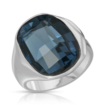 The W Brothers 925 Sterling Silver Aqua Swarovski Ring